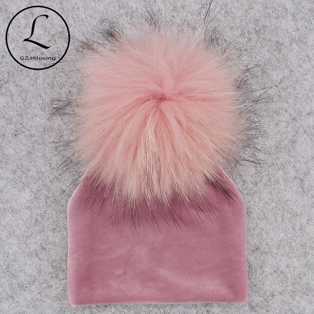 GZHILOVINGL помпон из натурального меха, детская шапка девочки мальчики теплая зимняя вязаная бархатная шапка для малышей Мягкие толстые фланелевые шапки помпоны