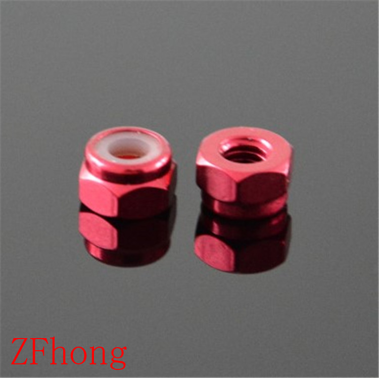 100pcs M2 M3 M4 M5  Red Anodized Aluminum Nylon Lock Nut For RC Buggy Racing Car