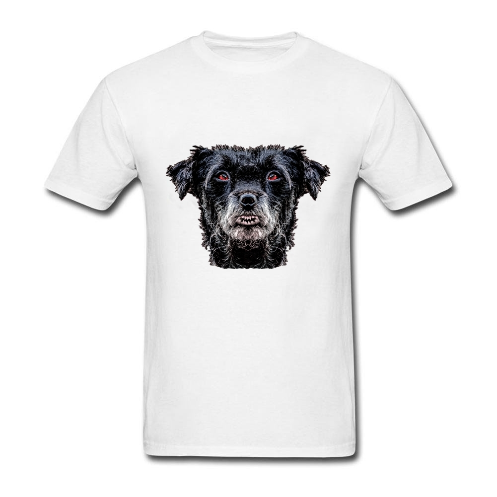 Design your own t-shirt for dogs - T Shirt Custom Design Diabolic Black Dog Head Men S Popular Cotton Short Sleeve T Shirt