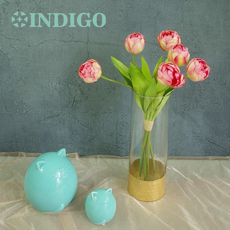 INDIGO-Silk Tulip Bouquet (6stems) Roze Tulp Bloemstuk Huwelijksbloem - Feestversiering en feestartikelen