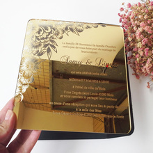 Sample order for 7*7inch flower elements square shape golden mirror acrylic laser cut wedding invitation card