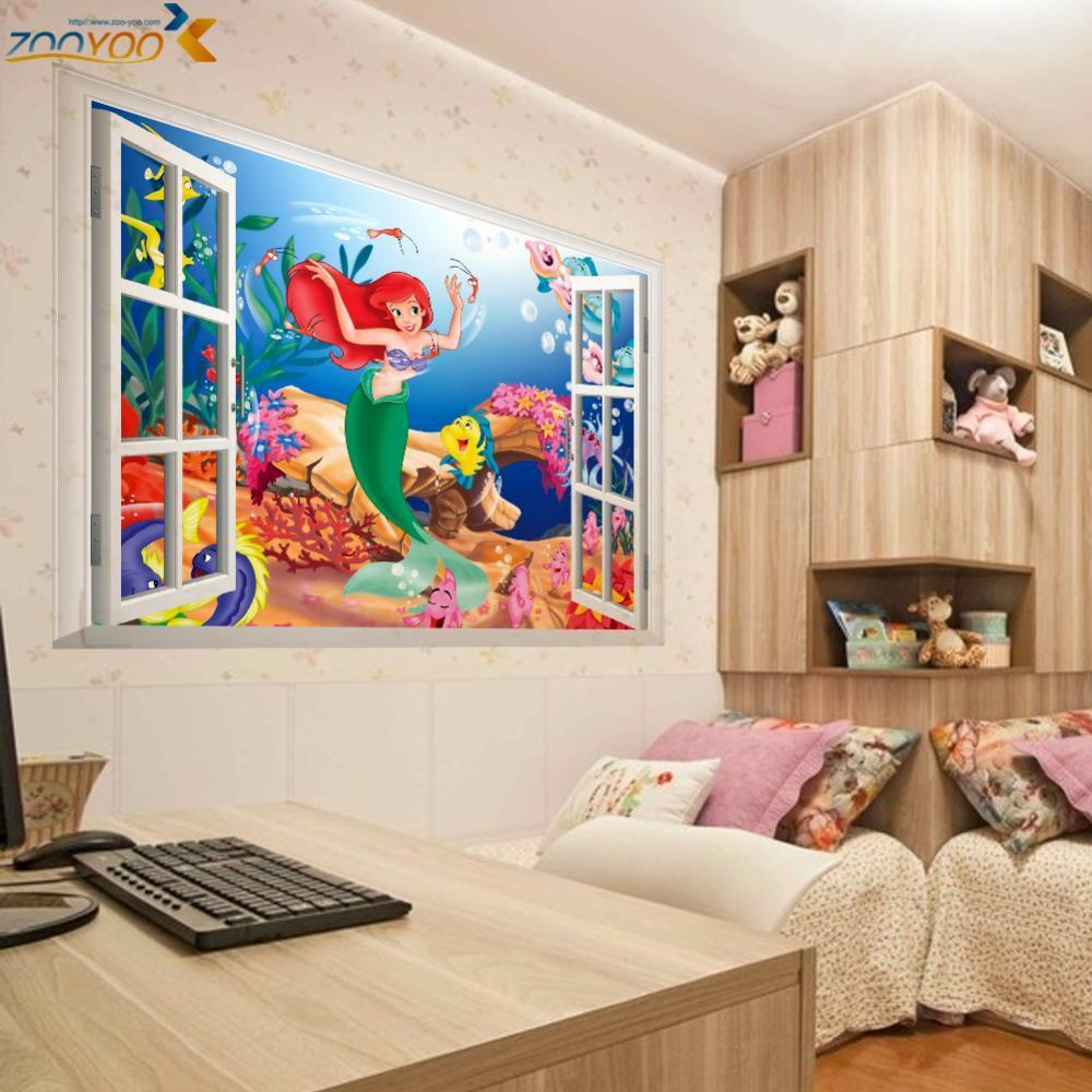 online get cheap mermaid wall sticker aliexpress com alibaba group the little mermaid wall stickers for kids rooms zooyoo1424 home decoration diy 3d window sticker wall decal for girls room