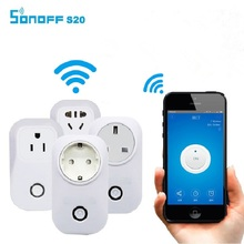 EU/US Smart Home Power Socket Plug Sonoff S20 Wireless Remote Control Socket Via App Phone Wifi Smart Timer Home Plug