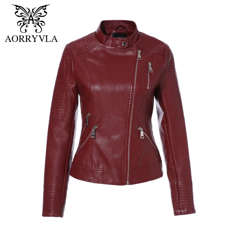 AORRYVLA PU   Leather   Jacket Women Spring 2019 Black Motorcycle Coat Short Faux   Leather   Biker Jacket Soft Female Jacket Hot Sale