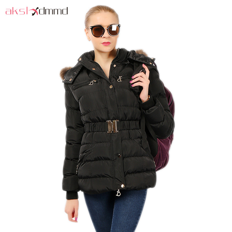AKSLXDMMD Parkas 2017 New European and American Fashion Winter Women Jacket Fur Collar Hooded Thick Padded-cotton Coat LH1072 2014 new european and american style high collar coat fur clothing brand men s fashion casual plaid cotton jacket
