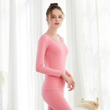 Woman Winter Warm Thermal Underwear Set For Women Solid Simple Elastic Female Sleep Wear Thermal Clothing Spring Autumn 1 Sets