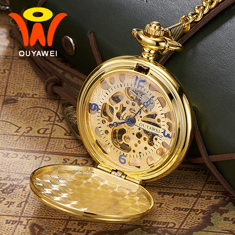 Ouyawei Luxury Gold Mechanical Hand Winding Pocket Watches With Chain Skeleton Transparent Men Clock Necklace Pocket Fob Watch antique style luxury vintage gold mechanical hand winding pocket watch pendant with fob chain for mens womens reloj de bolsillo