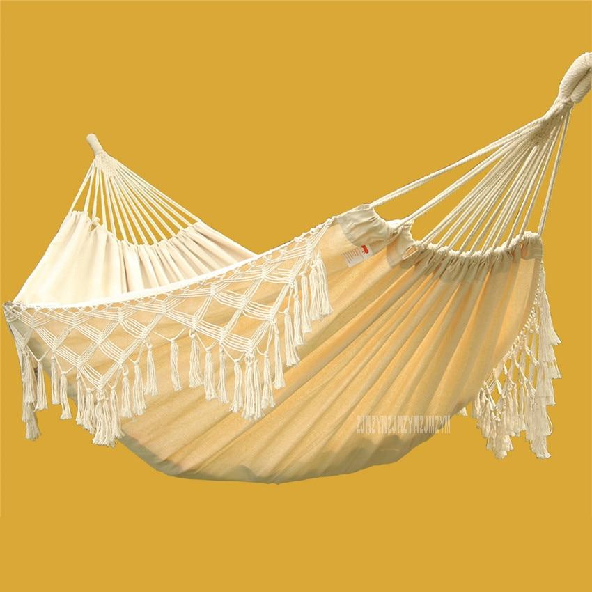 Style bohème gland 2 personnes en plein air Portable Camping plage hamac coton maison balcon jardin balançoire chaise suspendue hamac