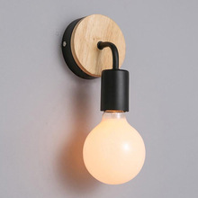 купить creative corridor light LED aisle lamp without bulb modern iron art wooden wall lamp по цене 1185.39 рублей