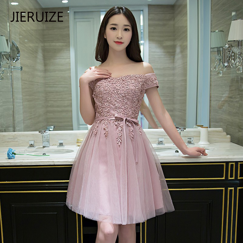 JIERUIZE Lace Appliques Off The Shoulder Short   Cocktail     Dresses   Cheap Short Prom Party   Dresses   robe de   cocktail