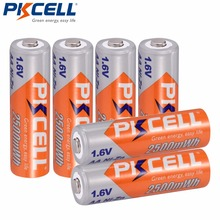 6 pièces * PKCELL NI ZN 1.6V AA batterie Rechargeable 2A Batteries en 2500mwh nizn aa batterie recharge pour appareil photo et jouets