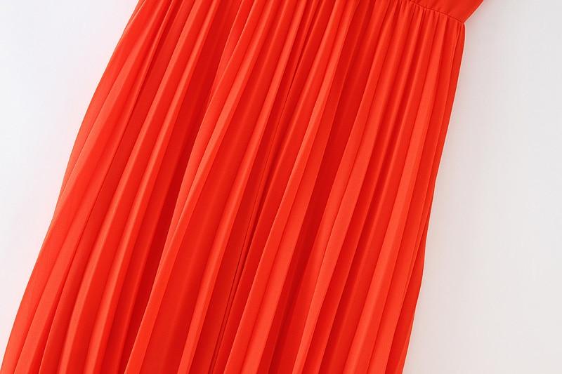 Vadim women orange maxi dress pleated ruffles sleeveless backless female casual sweet dresses chic bow tie A line vestidos QB506
