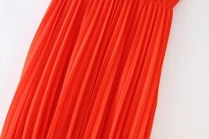 Image 5 - Vadim women orange maxi dress pleated ruffles sleeveless backless female casual sweet dresses chic bow tie A line vestidos QB506