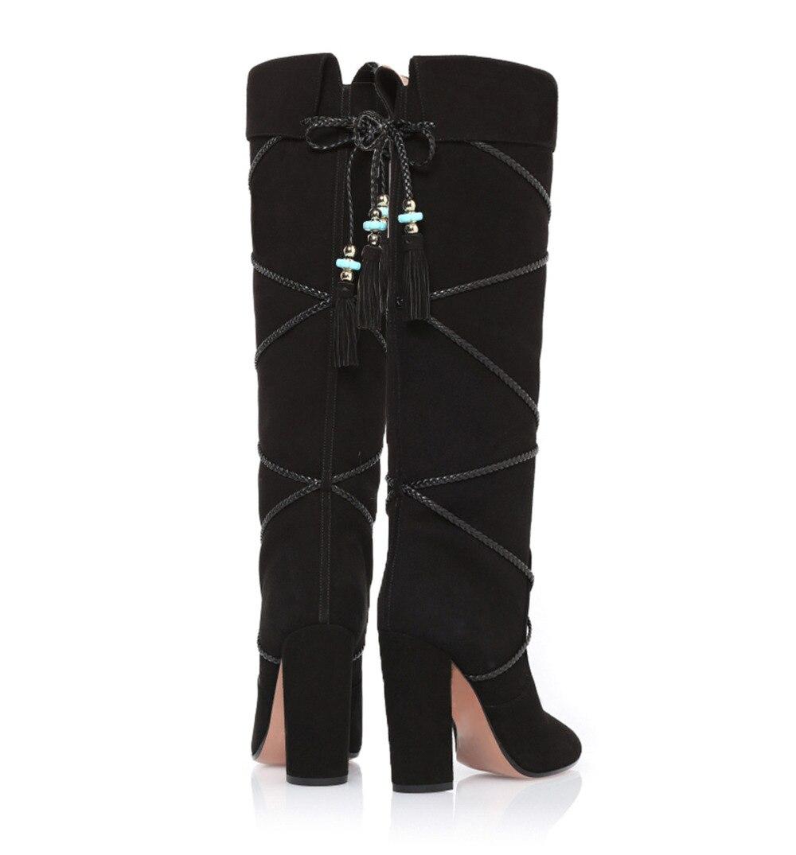 Perle Femmes Bottes Cuir Up Noir Color as En As Showed D'hiver Genou Dentelle Botte Haute Suédé Designer Color x8nEfW