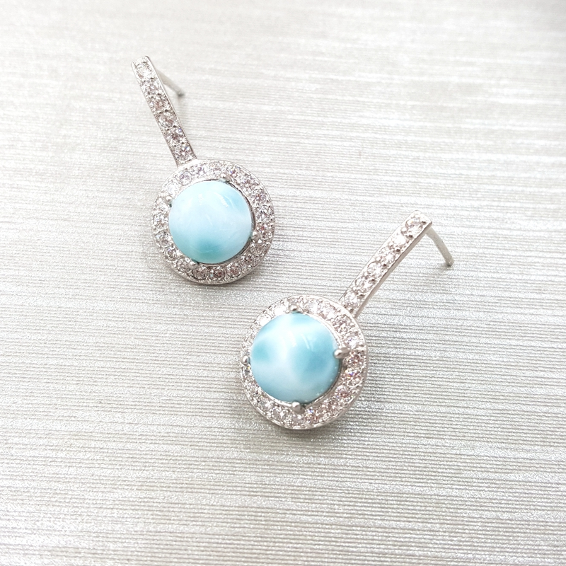 Lii Ji pierre précieuse naturelle Larimar classique luxe brillant Zircon réel 925 argent Sterling longue boucle d'oreille femmes bijoux de mariage - 3