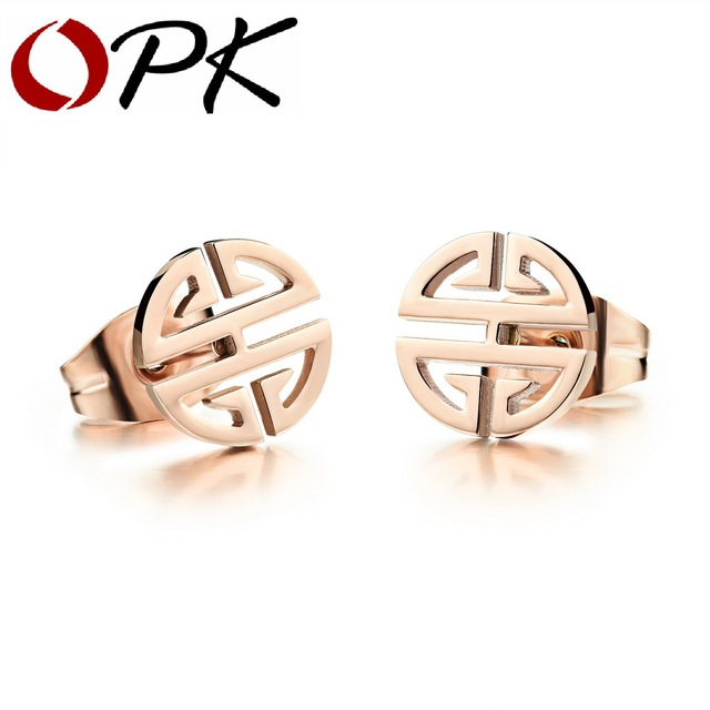 OPK Delicate Woman Stud Earring Classical Rose Gold Color Full