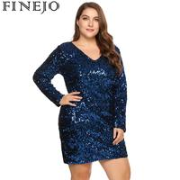 FINEJO Women Bodycon Large Size V Neck Dress Long Sleeve Sequined Ladies's Cocktail Club Party Sheath Sexy Dresses Plus Size