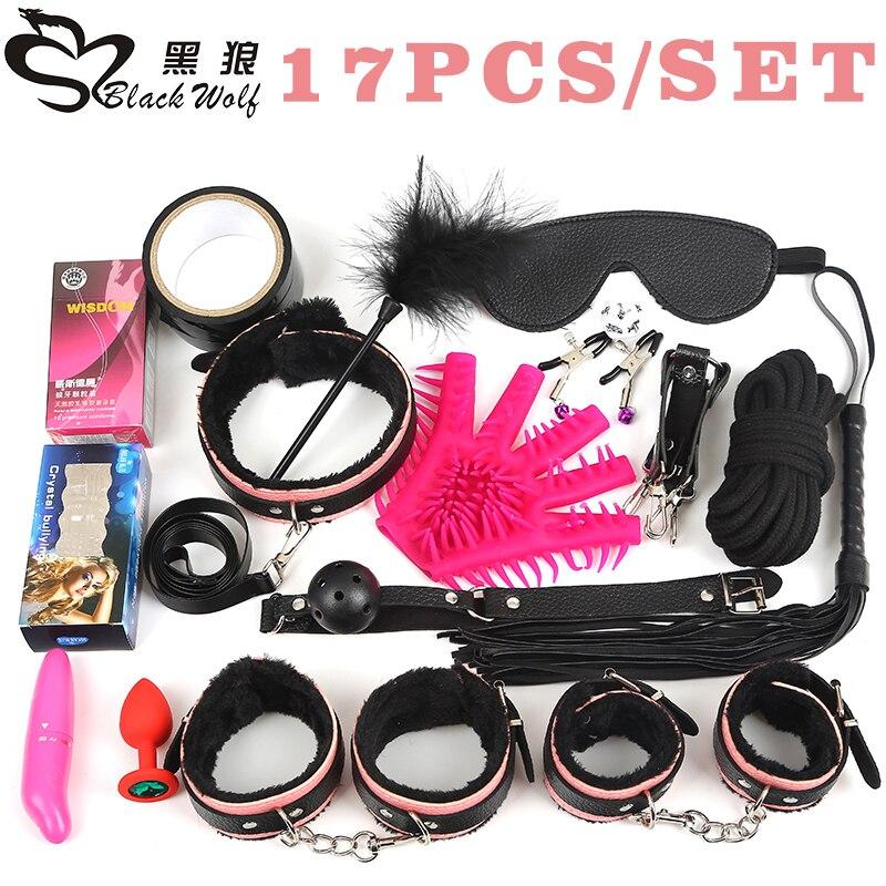 Black Wolf 17Pcs set BDSM Bondage Set Leather Fetish Women Sex Bondage Toys Nipple Clamps Ball