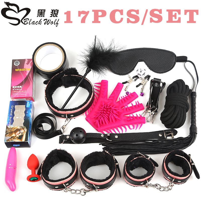 Black Wolf 17Pcs /set BDSM Bondage Set Leather Fetish Women Sex Bondage Toys Nipple Clamps Ball Gag Handcuffs Adult Sex products