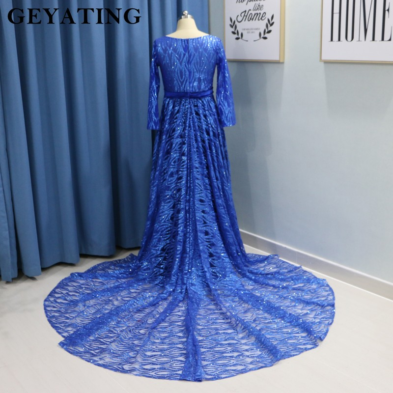 cf80255cacc Sparkle Royal Blue Velvet Maternity Evening Dress for Pregnant Women Plus  Size Formal Prom Dresses Long Sleeves Empire Waist -in Evening Dresses from  ...