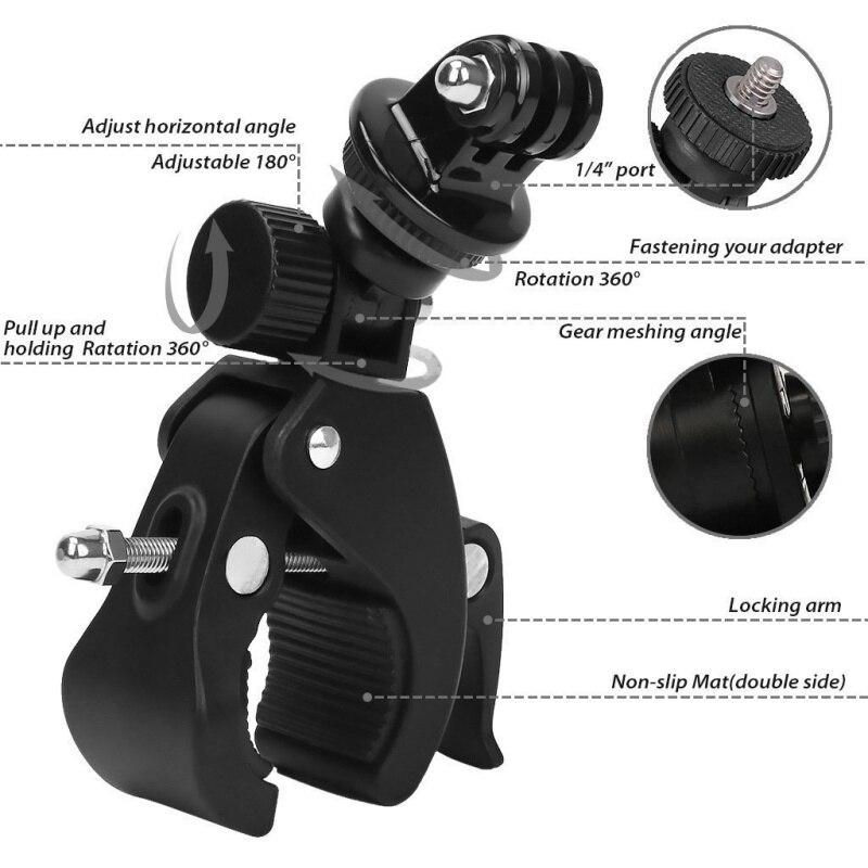 1 4 Camera DV DSLR Bike Bicycle Motorbike Handlebar Clamp Bracket Screw Clip Tripods Holder Mount for Gopro Hero5 4 3 3 2 1 in Bicycle Handlebar from Sports Entertainment