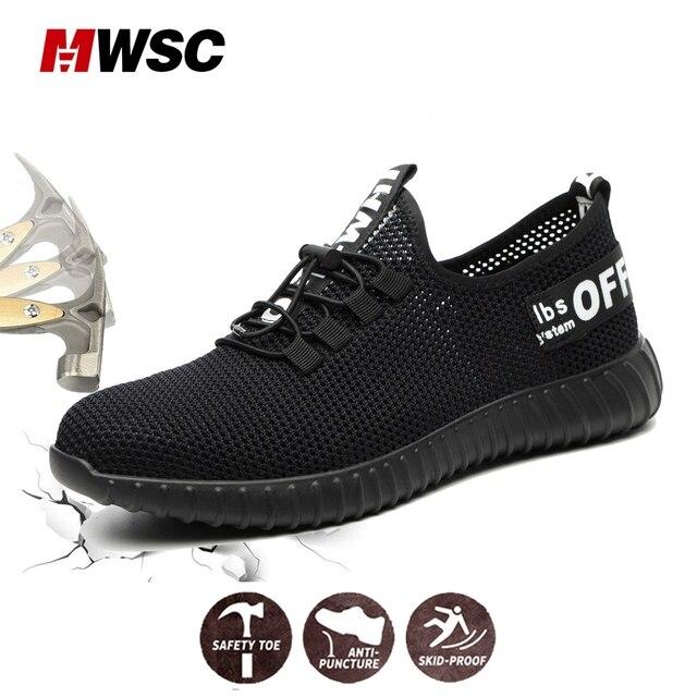 MWSC Mùa Hè Thép Không Gỉ Mũi Giày Nhẹ Người Giày Công Sở dành cho Nam Công Việc & An Toàn Giày Lưới Ủng Bảo Vệ Giày plus Kích Thước