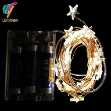 STAR Shaped Theme 3AA Battery Powered 3M 30 LED Copper String Fairy Lights Christmas Holiday Lighting