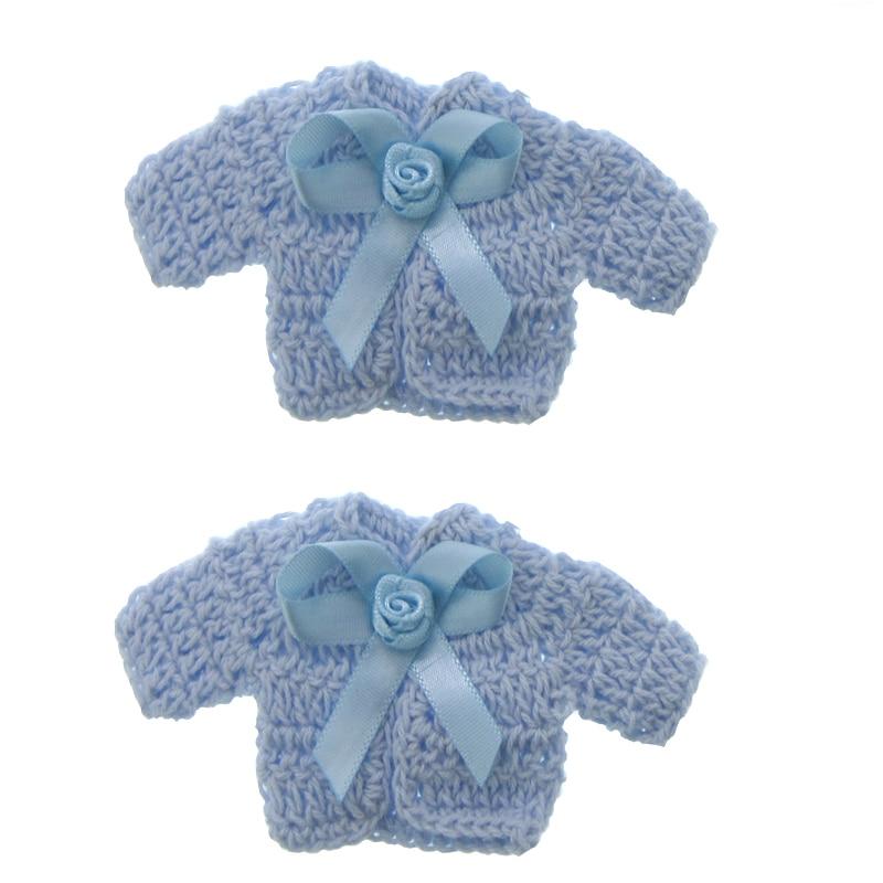 12Pcs ხელნაკეთი მინიატურული crochet სვიტერი ყვავილების ლენტი ბავშვის საშხაპე ნათლობა ნათლობის პარტია შ.პ.ს. 4.8 x 9.6 სმ