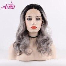Аурика Ombre Серебряный серый Тепло Сейф Синтетические волосы на кружеве парик с черными корни для Для женщин