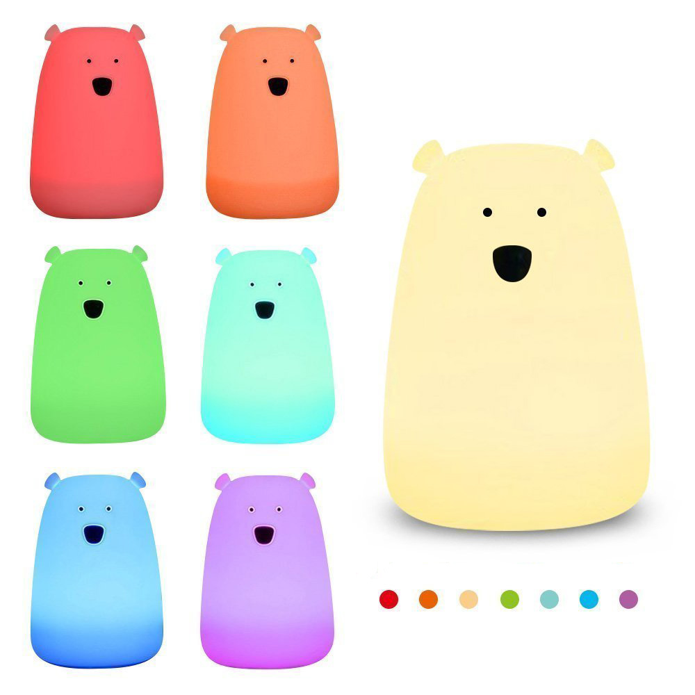 Многоцветный Медведь Силиконовые светодиодный Ночные огни USB/Батарея Перезаряжаемые сенсорный Регулируемый Яркость ночника для детей для ...