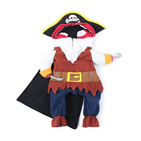 Pet Cat Dog Pirate Suit Apparel with Hat Clothes Costume Dress