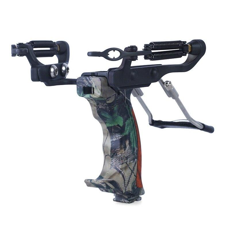 Puissant chasse fronde en plein air chasse arc cible jeux de tir catapulte arc avec bande de caoutchouc pliant poignet attelle