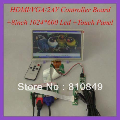 HDMI VGA 2AV LCD Controller Board+8inch ZJ080NA-08A 1024x600 LCD Screen With Touch Panel