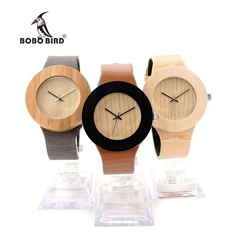 BOBO BIRD Luxury Wooden Women Watches Designer Three Cases Watch With Silver Needles Quartz Watches CbH10 H12 H13