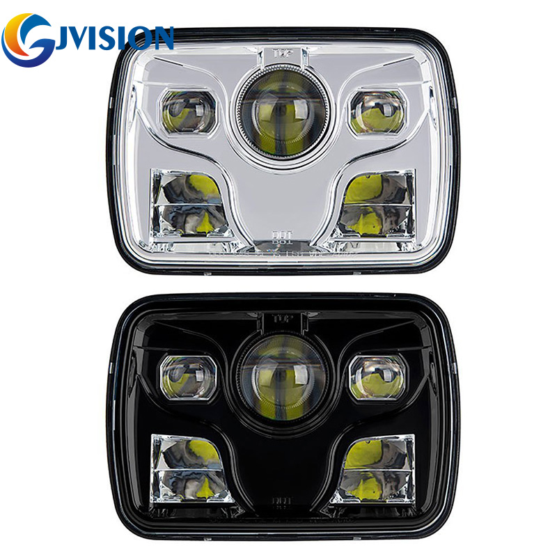 5x7 inch Square led projector headlights with High/Low Beam Driving Lamp For Jeep Wrangler YJ Truck 4X4 Offroad car 1pcs 120w 12 12v 24v led light bar spot flood combo beam led work light offroad led driving lamp for suv atv utv wagon 4wd 4x4