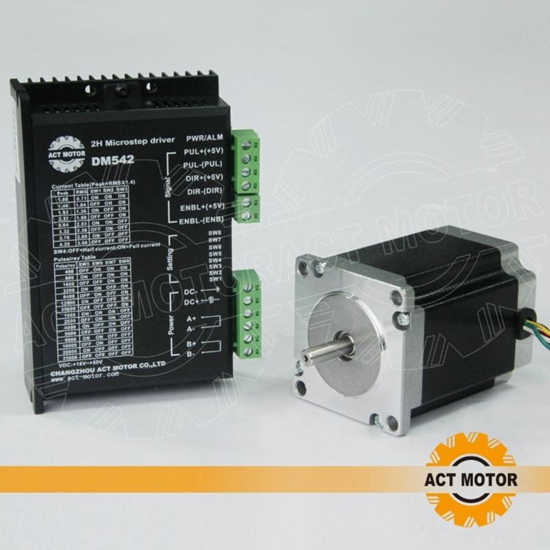 цена на ACT Motor 1PC Nema23 Stepper Motor 23HS8630 Single Shaft 6-Lead 270oz-in 76mm 3A+1PC Driver DM542 4.2A 50V 128Micro CNC Router