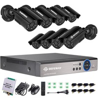 DEFEWAY 8CH 1200TVL HD Outdoor Home Security Camera System CCTV Video Surveillance DVR Kit With Emergency