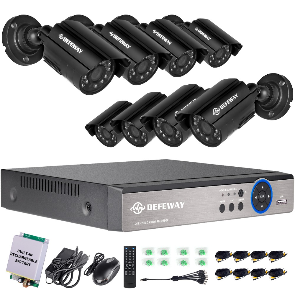 DEFEWAY 8CH 1200TVL HD Outdoor Home Security Camera System CCTV Video Surveillance DVR Kit with Emergency battery New Arrival матрасы ladema coco ld 04