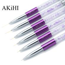 AKiHi 5-20mm linia artystyczna paznokci pędzle malarskie kryształ akrylowy cienki Liner pióro do rysowania narzędzia do manicure żel UV tanie tanio Szczoteczka do paznokci ZhizhuanL 5mm7mm9mm11mm15mm20mm Metal Purple