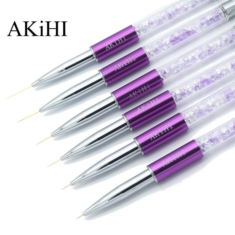 Akihi pincel para manicure, pincel para pintura de unha, arte em unhas, cristal, acrílico, forro fino, ferramentas de manicure com gel uv, 5-20mm