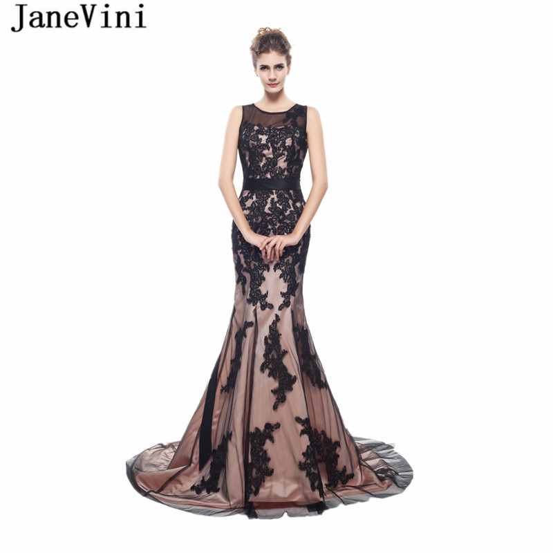 JaneVini Charming Tulle Long   Bridesmaid     Dresses   with Lace Appliques O-Neck Illusion Back Court Train Mermaid Formal Prom Gowns