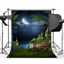 Photography Backdrop Dreamy Fairy Tale Castle Bokeh Starry Moon Night Mushroom Grass Field Fantas Background