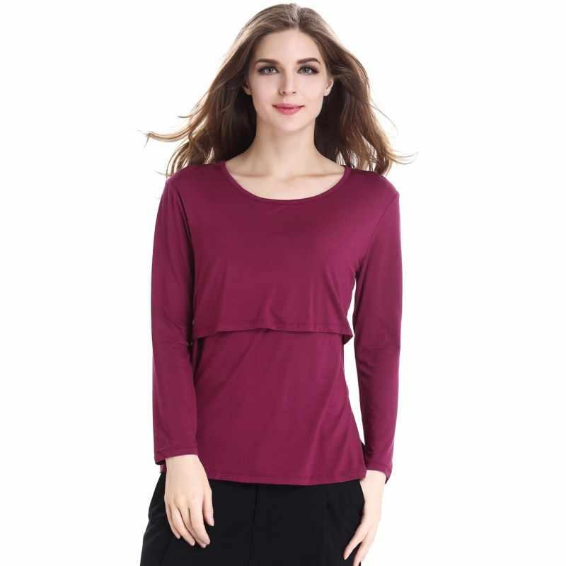 de3dd381b3420 ... Autumn Long Sleeve Pregnancy Breast Feeding Maternity Nursing Tops For Feeding  Clothes For Pregnant Women Tee ...