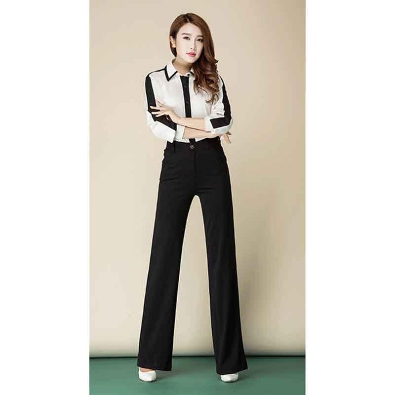 Damen elegante gerade lange Anzughose hohe Taille Office Lady OL - Damenbekleidung - Foto 5