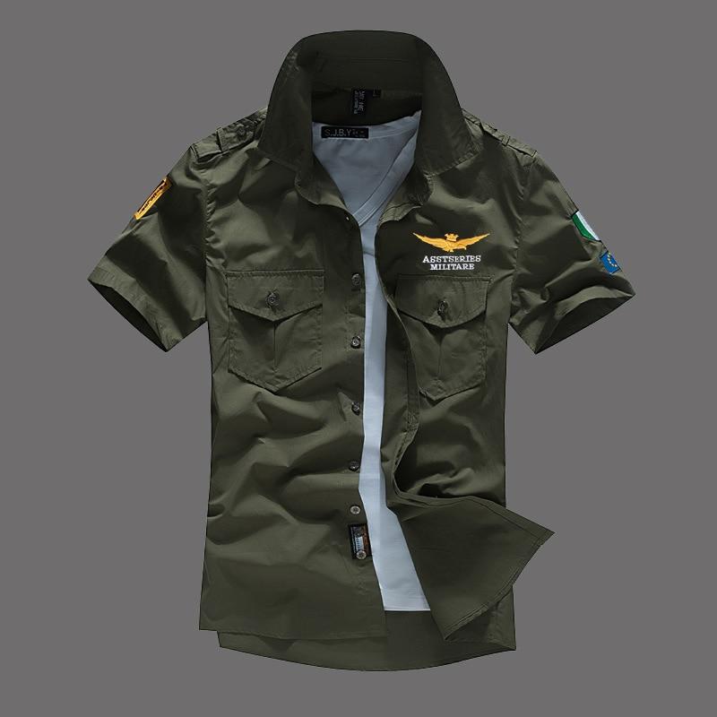 Модная повседневная мужская рубашка, летняя, Air Force One, рубашка с коротким рукавом, хлопковые рубашки, плюс размер, Азия, WA795 - Цвет: Army Green