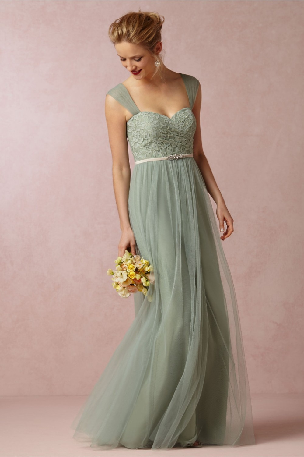Elegant Long Bridesmaid Dresses For Wedding Mint Green 2015 Beach Dress Robe Demoiselle Dhonneur In From