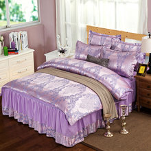 New Arrivals Polyester Bright Color Princess Bedspreads 4pcs Bed Skirt for Kids Adult Women Bed Sheet Pillow Cases Duvet Cover(China)