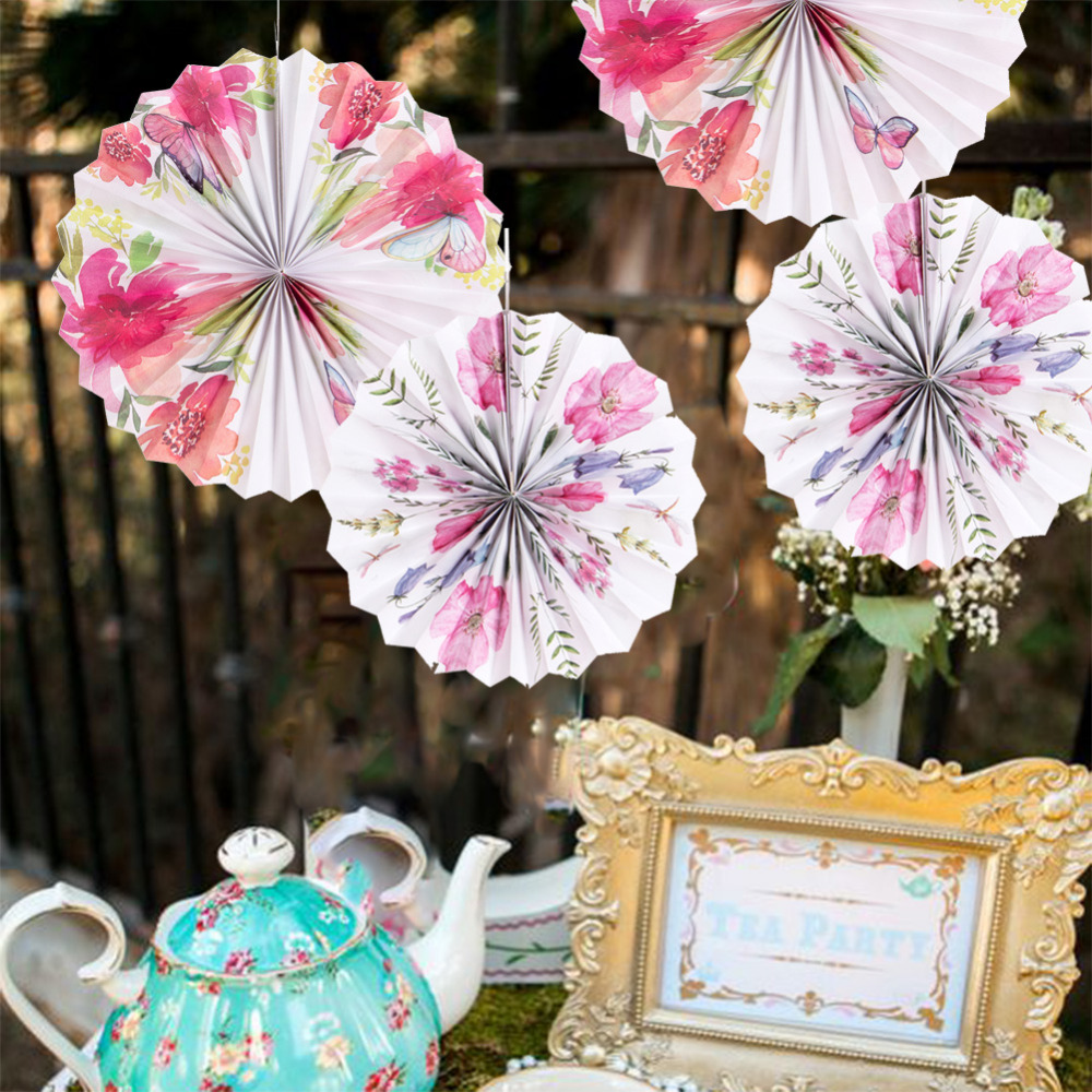 1pc Vintage Tea Party Floral Hanging Paper Fans Rosette Pinwheels Romantic Wedding Bridal Shower Photo Backdrop Garden Birthday