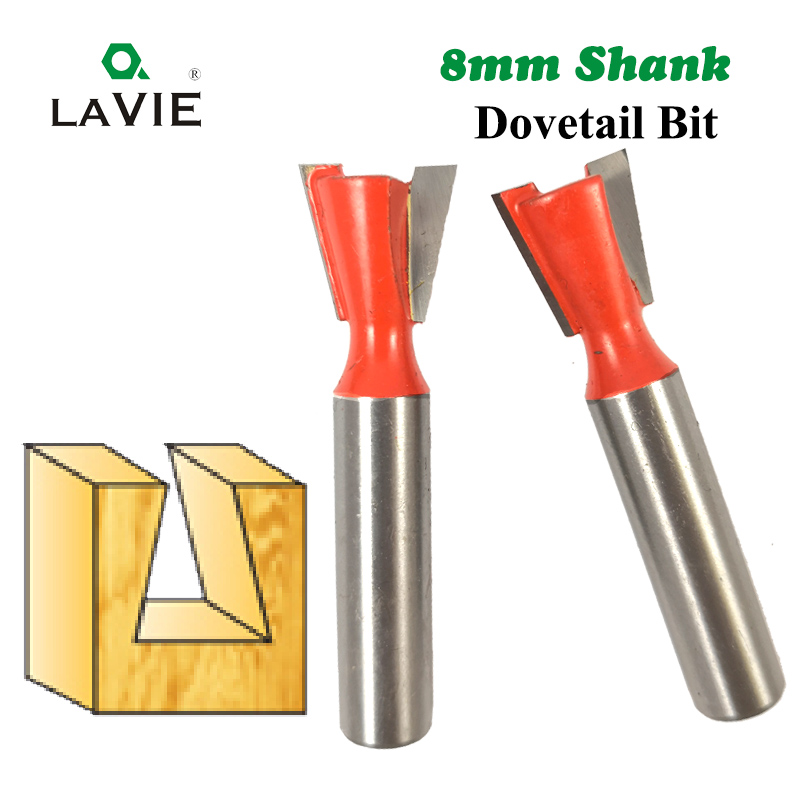 LA VIE 1pc 8mm Shank Dovetail Bit 2 Flute Router Bits Tungsten Carbide Engraving Tools Milling Cutter For Wood Cutters MC02025