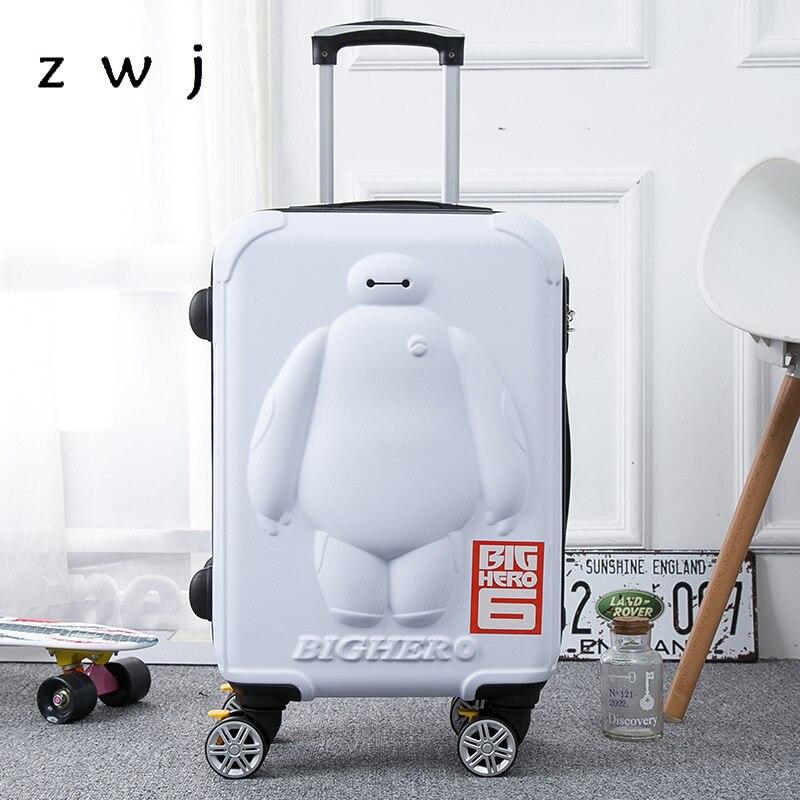 BayMax children luggage 20 24 inch cartoon trolley suitcase 3D big hero 6 Travel luggage rolling